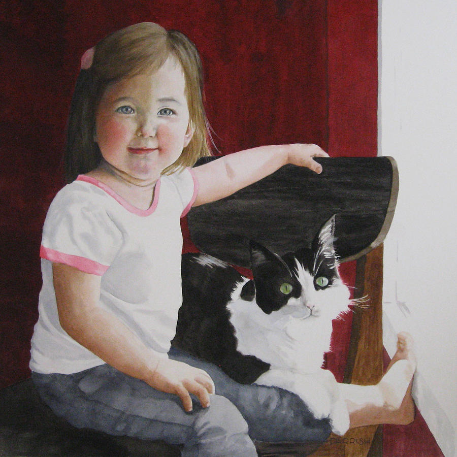 Portrait Painting - A Girl And Her Cat by Parrish Hirasaki