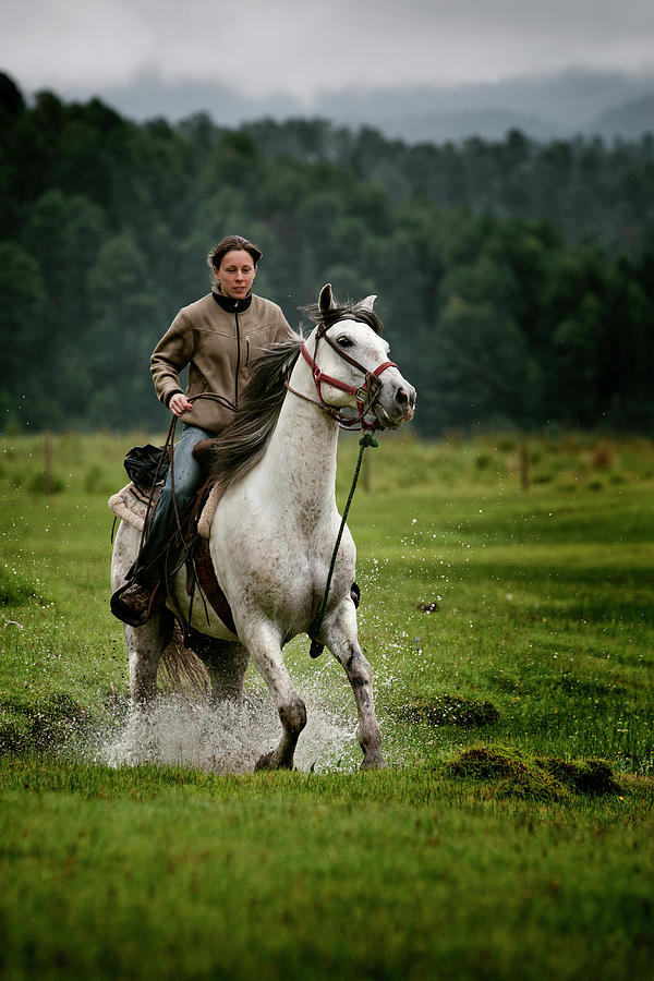 20s Photograph - A Girl Rides A White Horse Splashing by Marcos Ferro