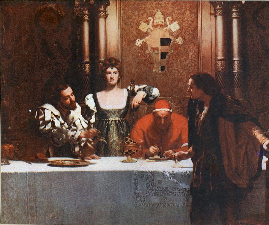 John Collier Painting - A Glass Of Wine With Caesar Borgia by Philip Ralley