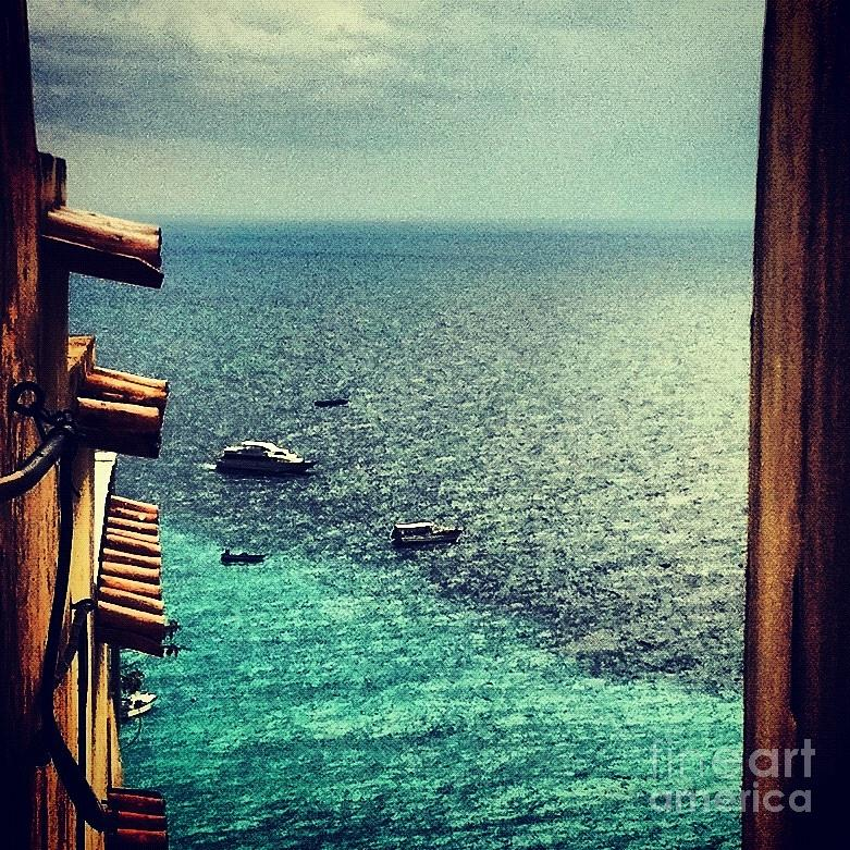 Positano Photograph - A Glimpse Of Blue Waters by H Hoffman