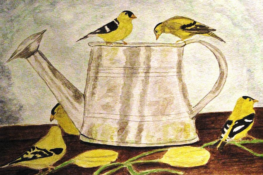 Watercolors Painting - A Goldfinch Gathering by Angela Davies