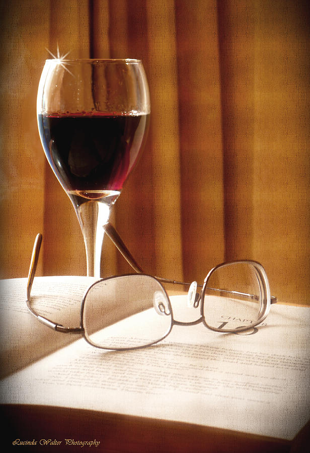 Book Photograph - A Good Book And A Glass Of Wine by Lucinda Walter