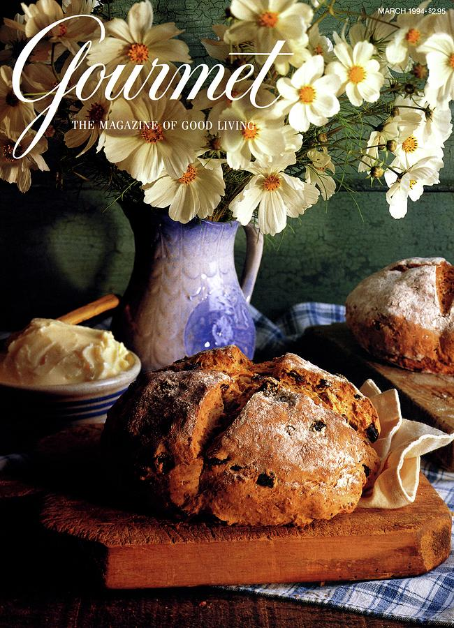 A Gourmet Cover Of Bread And Flowers Photograph by Romulo Yanes