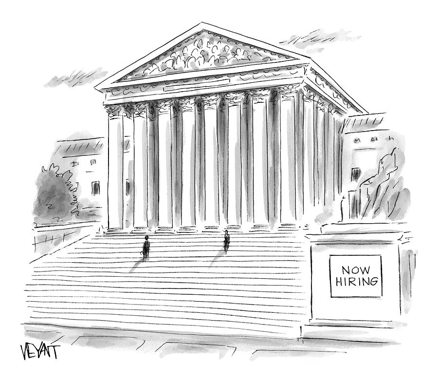 A Government Building Is Seen With A Now Hiring Drawing by Christopher Weyant