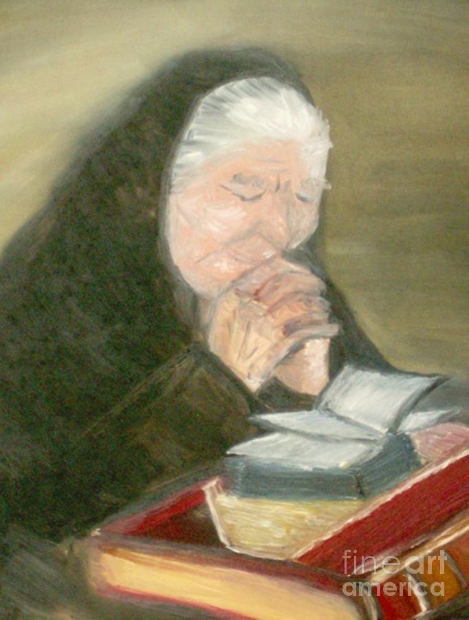 Grandmother Painting - A Grandmothers Prayer by Helena Bebirian