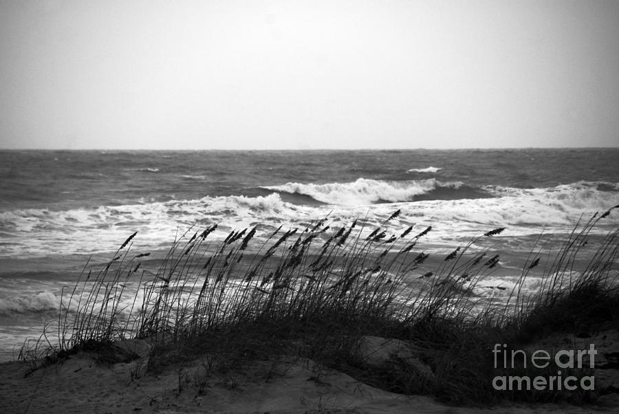 Waves Photograph - A Gray November Day At The Beach by Susanne Van Hulst