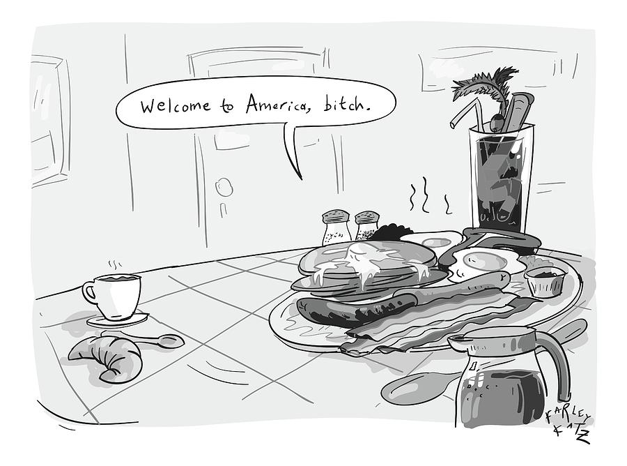 A Greasy Plate Of Pancakes Drawing by Farley Katz