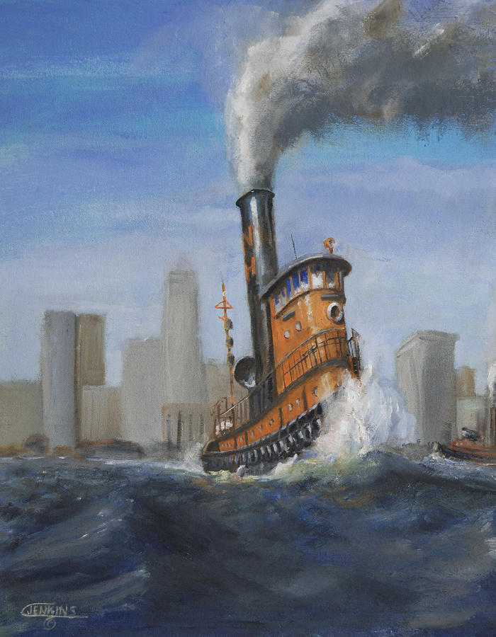 Orange Painting - A Great Day For Tugs by Christopher Jenkins