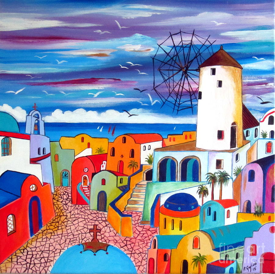 Santorini Paintings For Sale