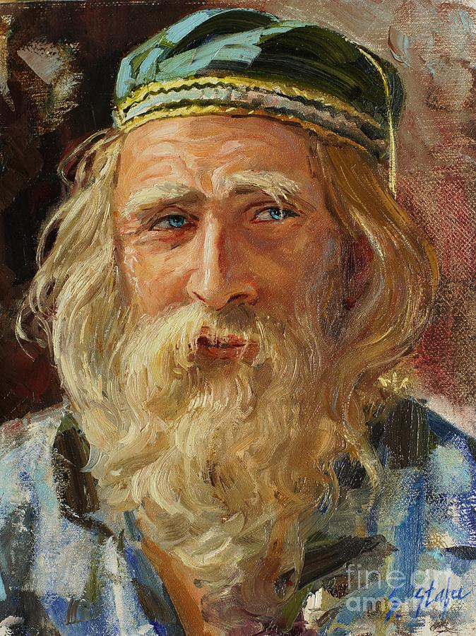 Portrait Painting - a Greek Portrait by Sefedin Stafa