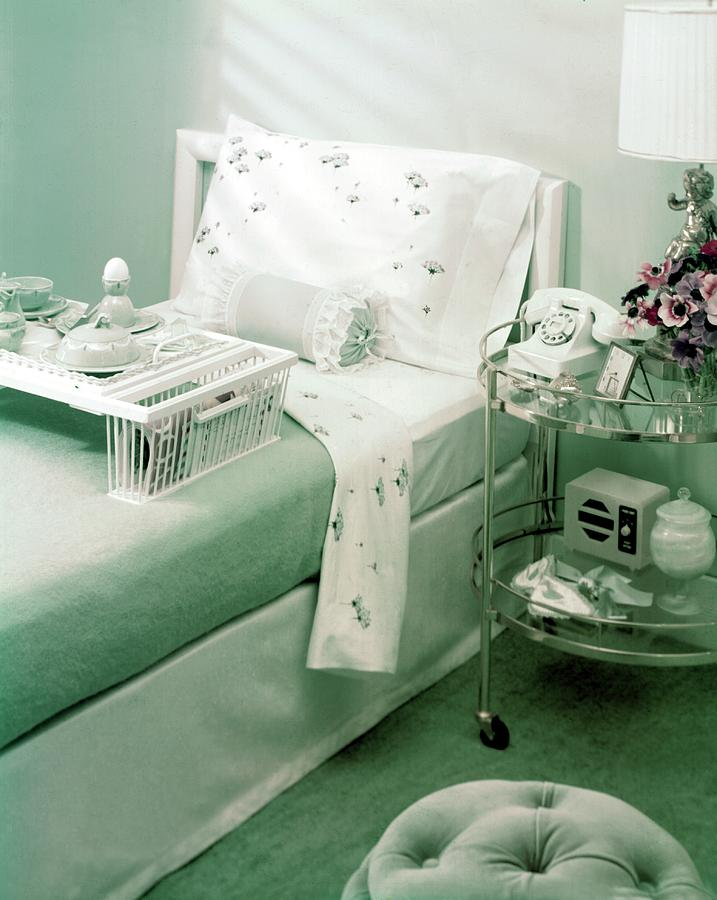 A Green Bedroom With A Breakfast Tray On The Bed Photograph by Haanel Cassidy