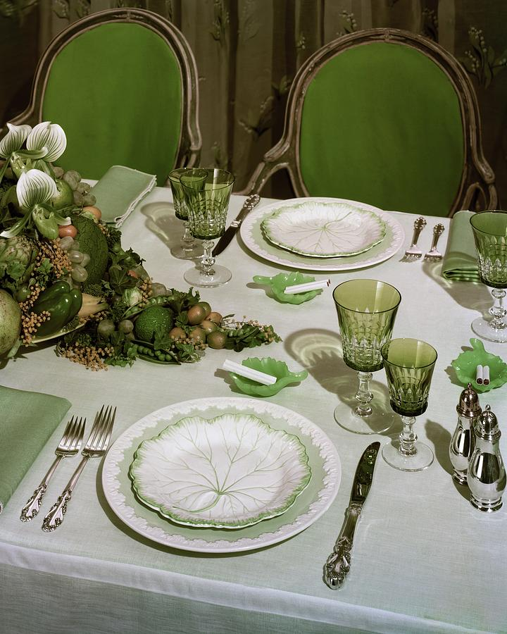 A Green Table Setting Photograph by Wiliam Grigsby & A Green Table Setting by Wiliam Grigsby