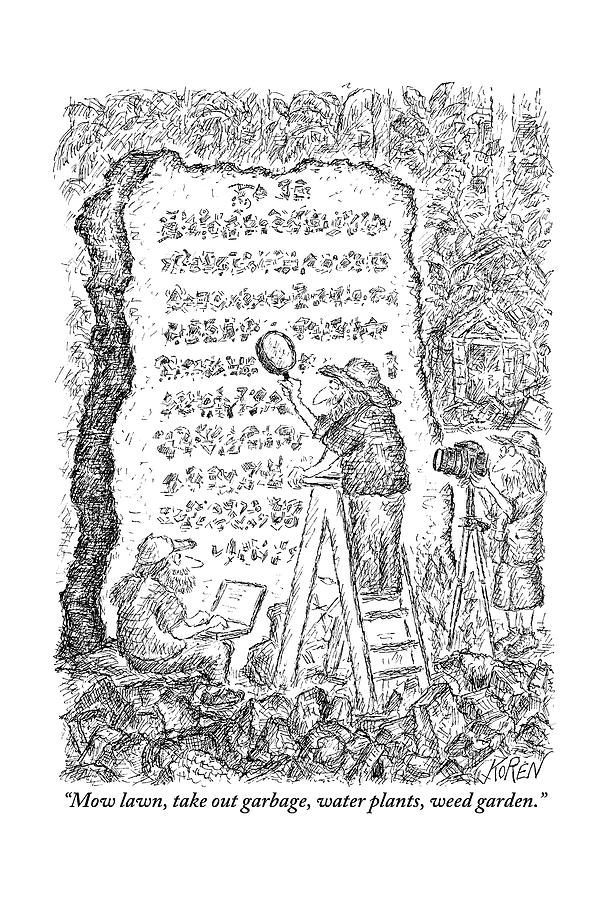 A Group Of Archaeologists Decipher A Large Drawing by Edward Koren