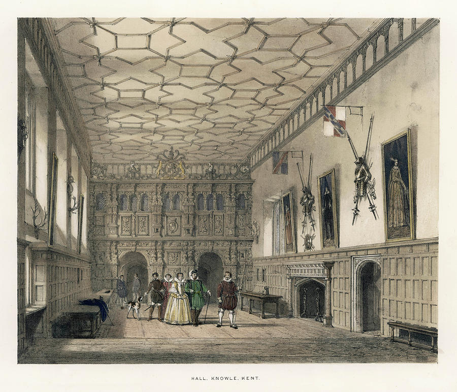 Social Drawing - A Group Of Aristocrats In The  Hall by Mary Evans Picture Library