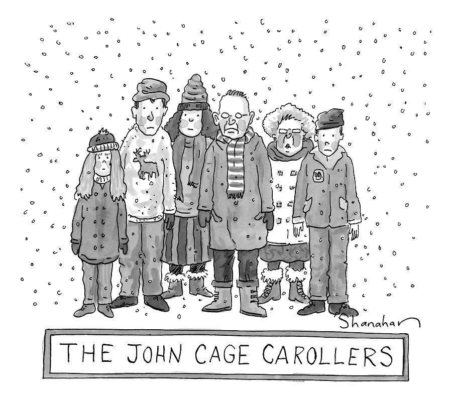 A Group Of Carolers Stands In The Snow Drawing by Danny Shanahan
