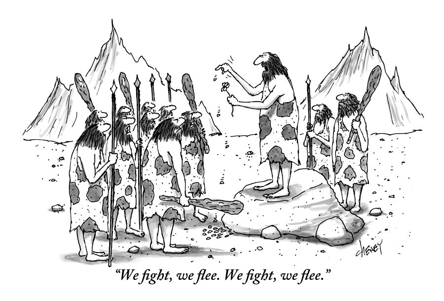 A Group Of Cavemen Gather Around A Leader Drawing by Tom Cheney