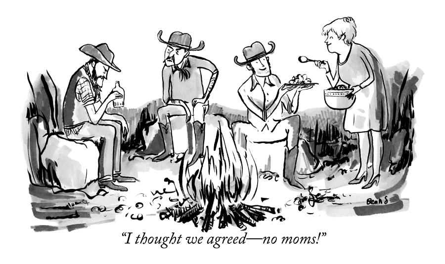 A Group Of Cowboys Are Sitting Around A Campfire Drawing by Kate Beaton
