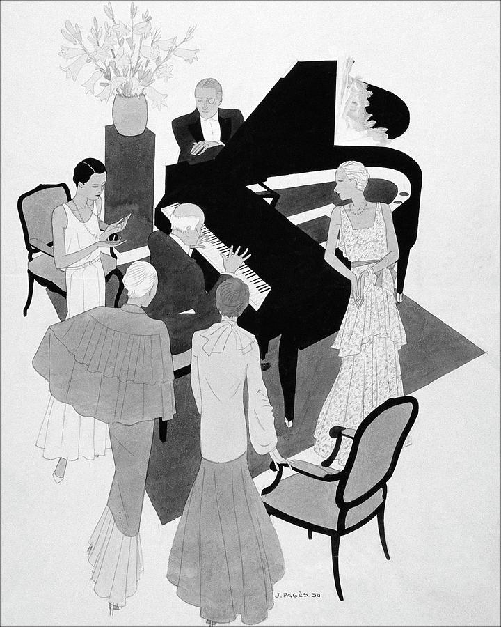 A Group Of People Around A Piano At A Party Digital Art by Jean Pages