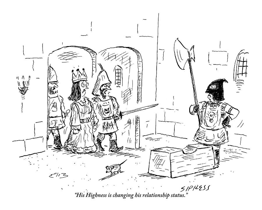 A Guard Leading A Queen Speaks To An Executioner Drawing by David Sipress