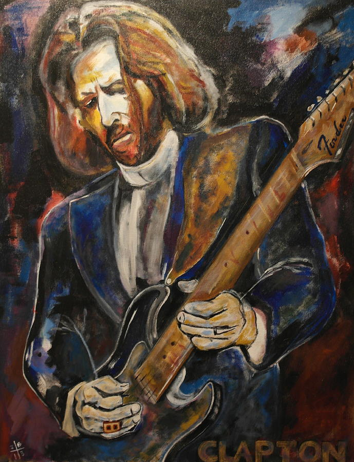 Eric Clapton Painting - A Guitar God Speaks by John W Barth