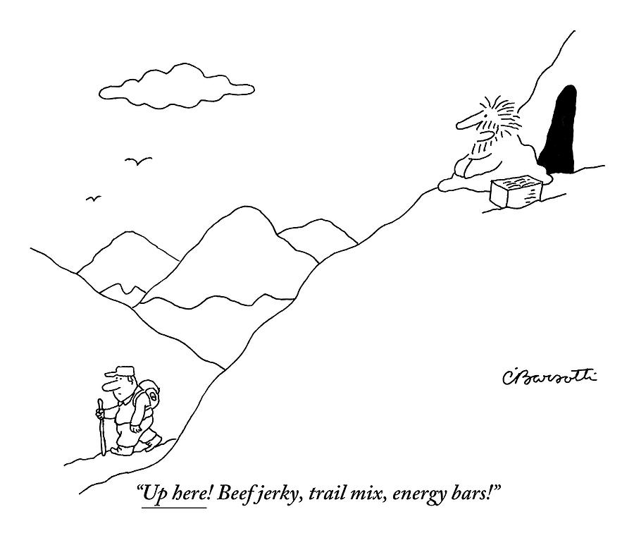 A Guru Is Seen Calling Out To A Hiker Walking Drawing by Charles Barsotti