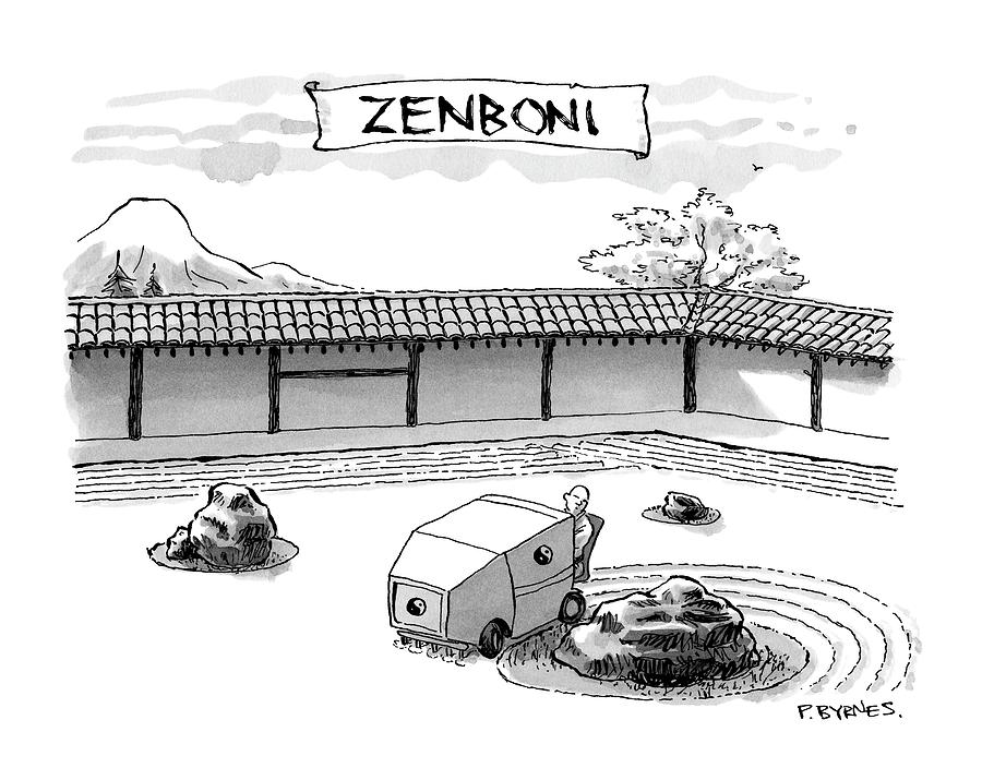 A Guy Is Driving Around A Zen Garden Making Drawing by Pat Byrnes