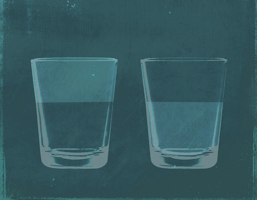 A Half Full Glass Of Water Next To A Digital Art by Malte Mueller