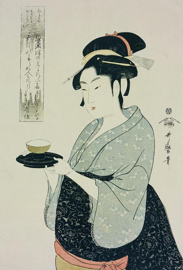 Depiction Painting - A Half Length Portrait Of Naniwaya Okita by Kitagawa Utamaro