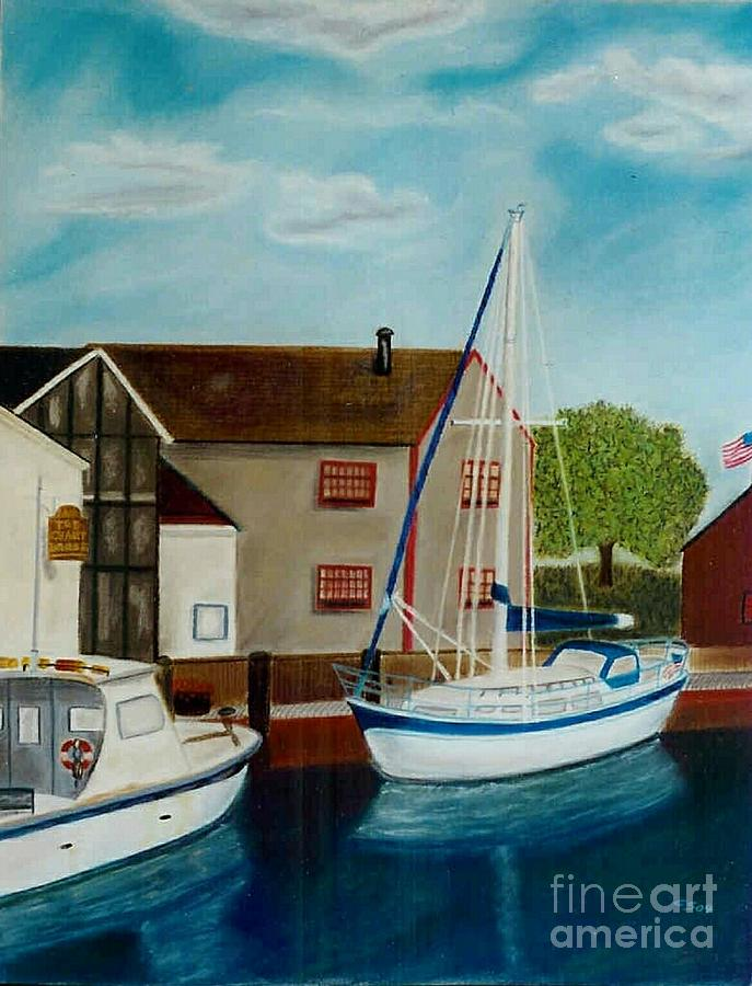 Harbor Painting - A Harbor In New England by Christiane Schulze Art And Photography