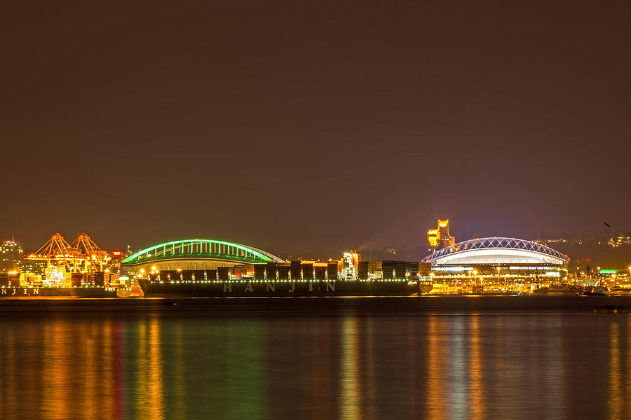 Seattle Harbor Photograph - A Harbor Nightscape by Calazones Flics