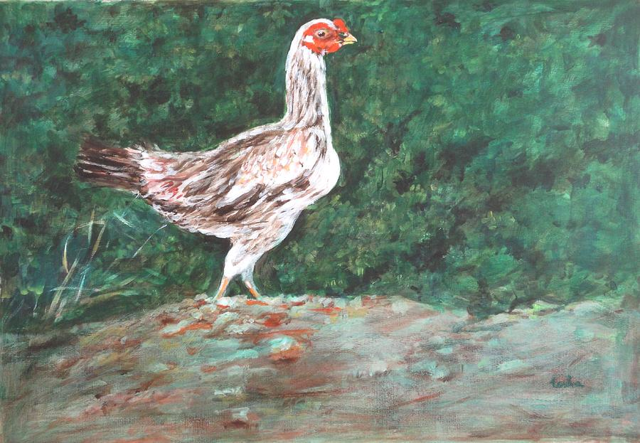 Hen Painting - A Hen by Usha Shantharam