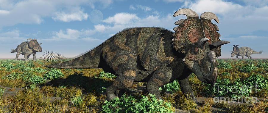 Horizontal Digital Art - A Herd Of Albertaceratops by Mark Stevenson