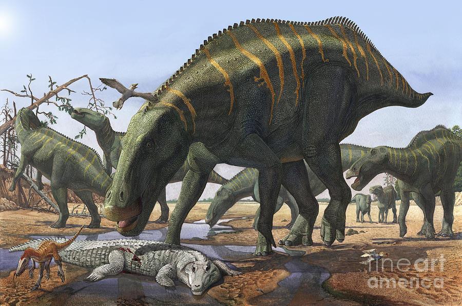 A Herd Of Shantungosaurus Dinosaurs Digital Art