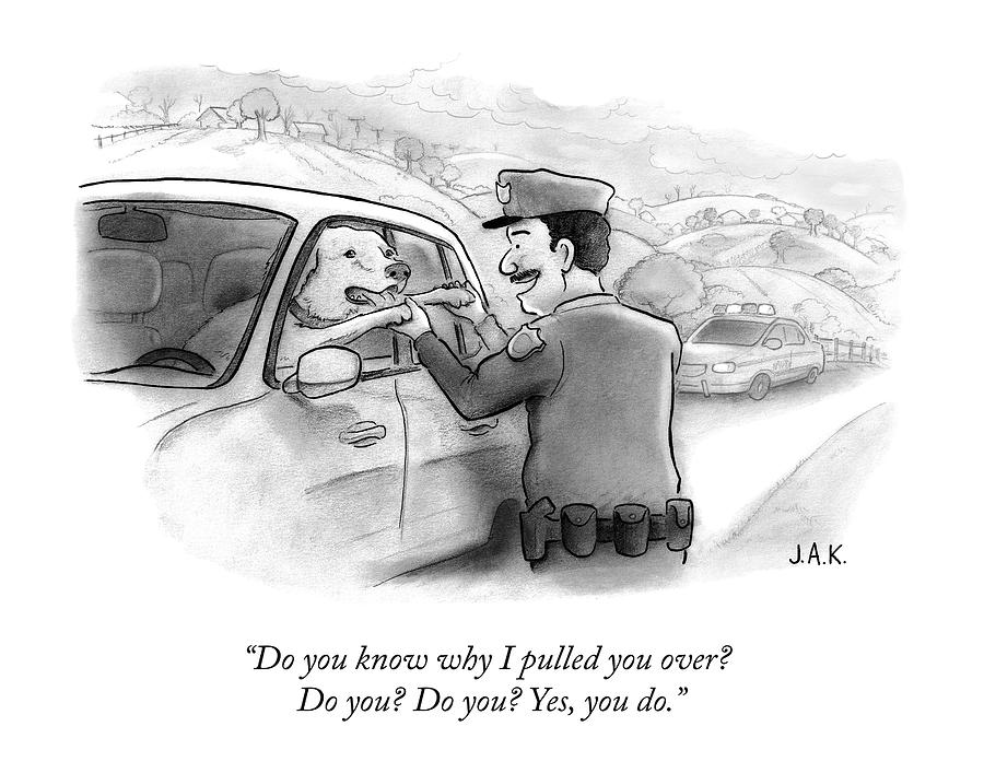A Highway Police Officer Pulls Over And Plays Drawing by Jason Adam Katzenstein