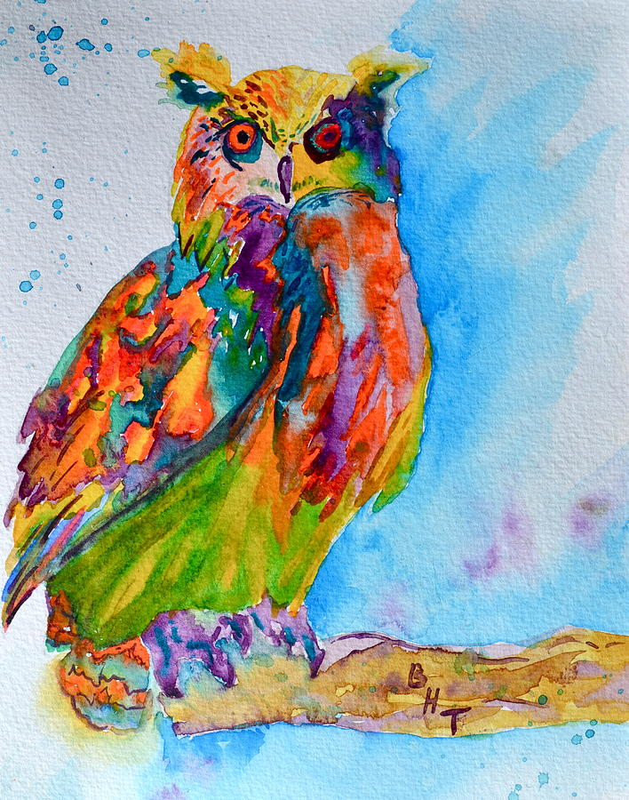 Owl Painting - A Hootiful Moment In Time by Beverley Harper Tinsley