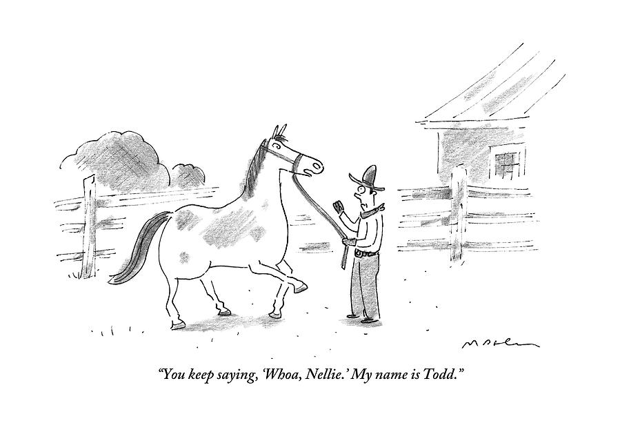 A Horse Speaks To A Cowboy Trying To Calm Drawing by Michael Maslin