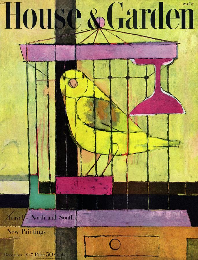 A House And Garden Cover Of A Bird In A Cage Photograph by Hans Moller