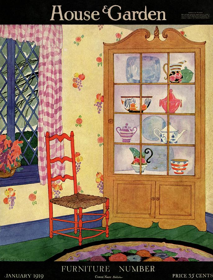 A House And Garden Cover Of A Chair By A Cabinet Photograph by Helen Dryden