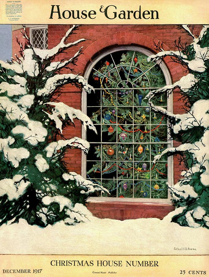 A House And Garden Cover Of A Christmas Tree Photograph by Ethel Franklin Betts Baines