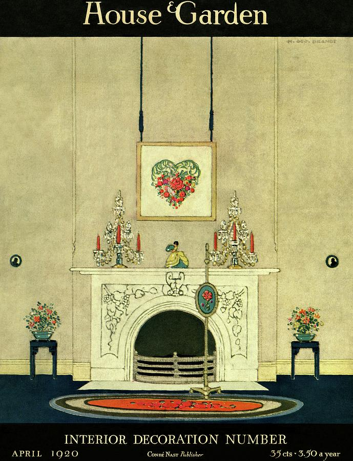 A House And Garden Cover Of A Fireplace Photograph by H. George Brandt