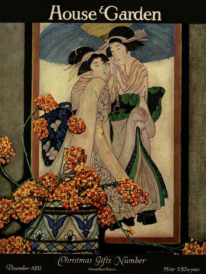 A House And Garden Cover Of A Japanese Print Photograph by Ethel Franklin Betts Baines