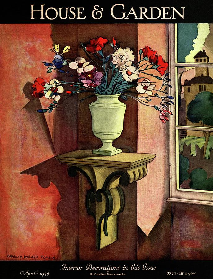 A House And Garden Cover Of A Vase Of Flowers Photograph by Bradley Walker Tomlin