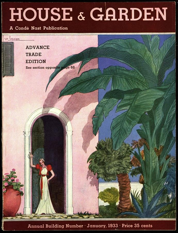 A House And Garden Cover Of A Woman In A Doorway Photograph by Georges Lepape