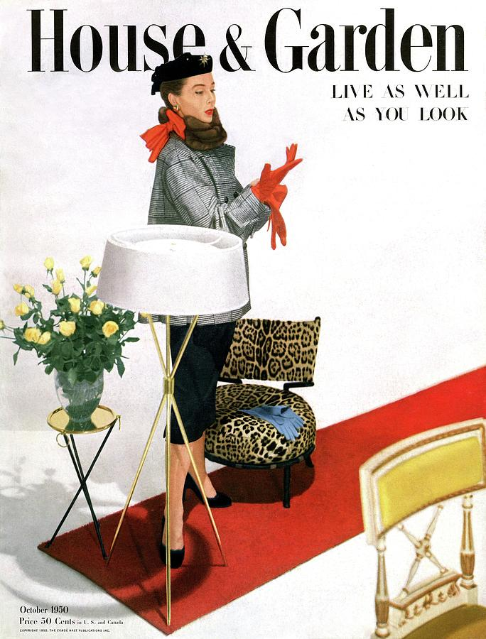 A House And Garden Cover Of A Woman With A Lamp Photograph by Horst P. Horst