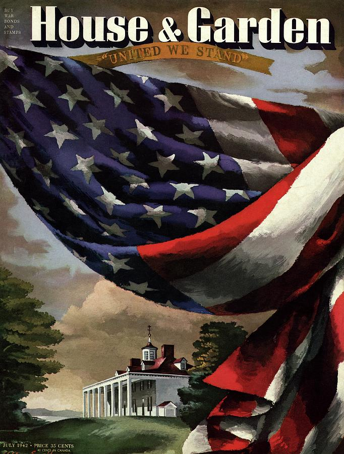 A House And Garden Cover Of An American Flag Photograph by Allen Saalburg