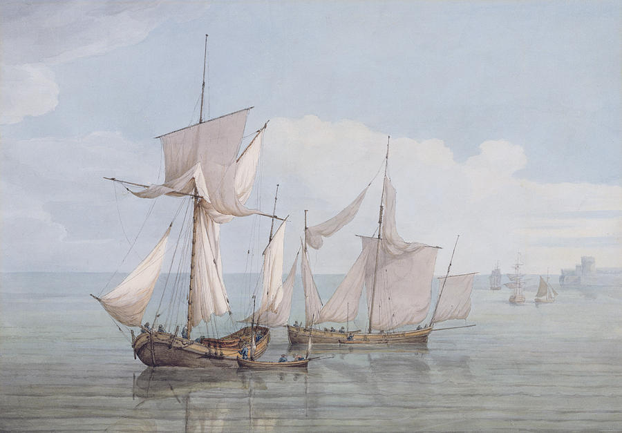 Boat Painting - A Hoy And A Lugger With Other Shipping On A Calm Sea  by John Thomas Serres