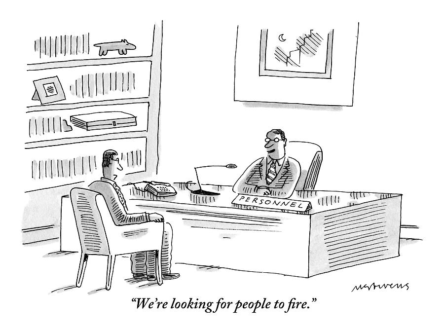 A Human Resources Office Worker Speaks To An Drawing by Mick Stevens