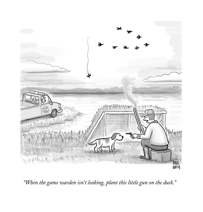 A Hunter Speaks To A Dog. He Holds A Small Gun Drawing by Paul Noth