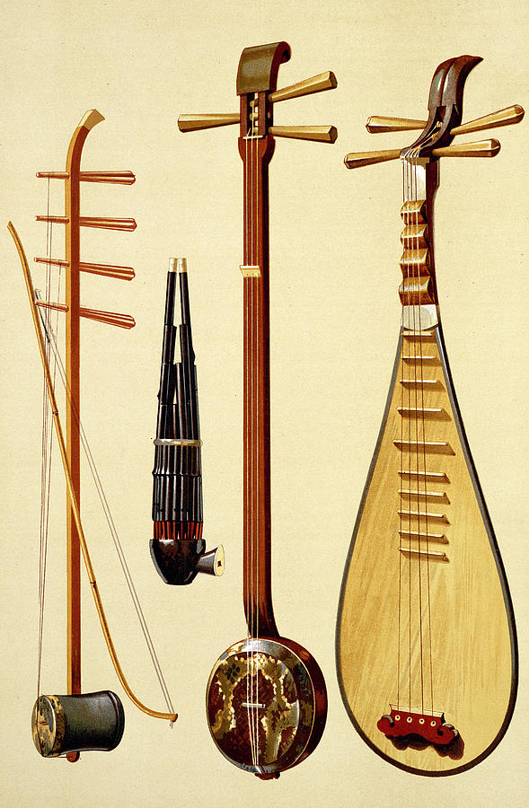 Erhu Drawing - A Huqin And Bow, A Sheng, A Sanxian by Alfred James Hipkins