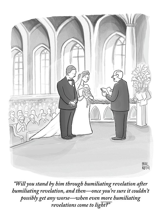 A Husband And Wife Are Getting Married Drawing by Paul Noth